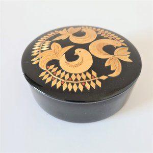 Black Round Vintage Trinket Jewelry Box